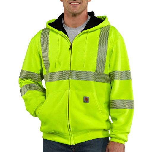 ANSI Class 3 Hi-Vis Thermal-Lined, Hooded, Zip-Up Sweatshirt