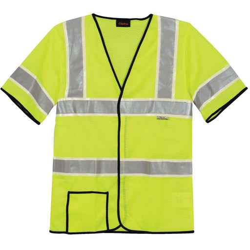 Alpha Workwear Classic Class 3 Hi-Vis Glow-in-the-Dark Short-Sleeve Safety Vest