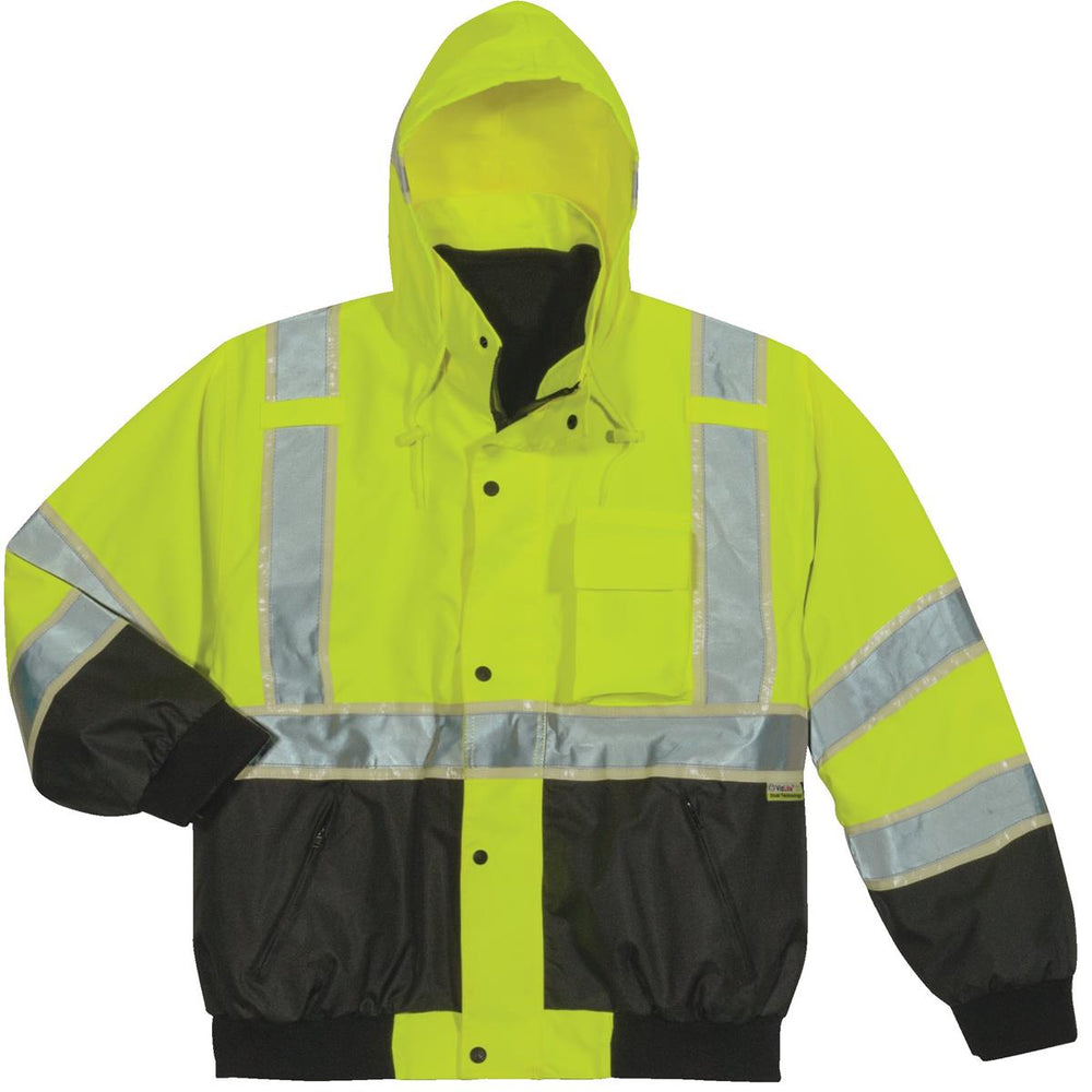 Alpha Workwear ANSI Class 3 Glow-in-the-Dark Hi-Vis Bomber Jacket