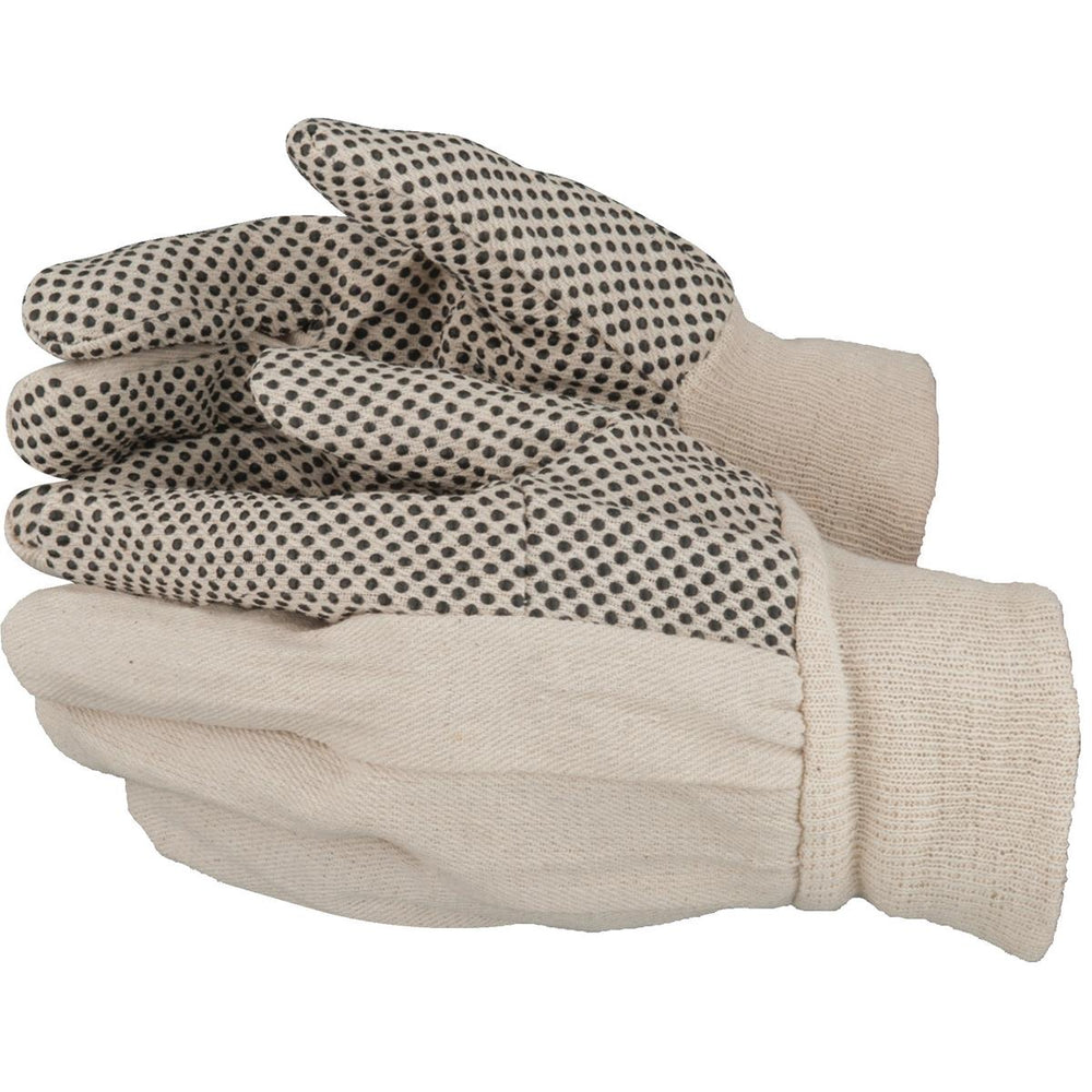 Cotton Gloves with PVC Dots, Dozen Pair