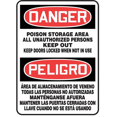 "Bilingual ""Danger - Poison Storage Area..."" Warning Sign"