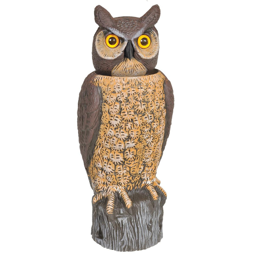 Solar-Powered Owl Decoy with Rotating Head