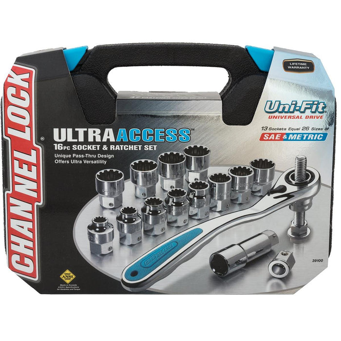 CHANNELLOCK 16-Piece Pass-Thru Uni-Fit® Socket Set