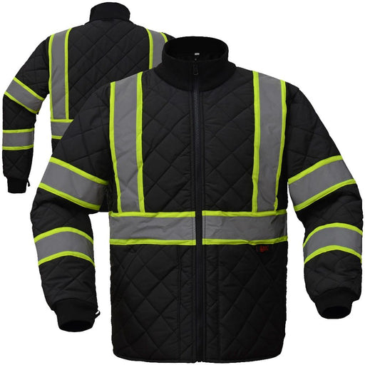 Enhanced Visibility Black Quilted Jacket Size 2X
