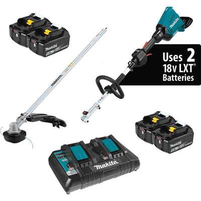 Makita 18V X2 (36V) LXT® Lithium-Ion Couple Shaft Power Head Kit with String Trimmer Attachment (5.0Ah), Plus Batteries