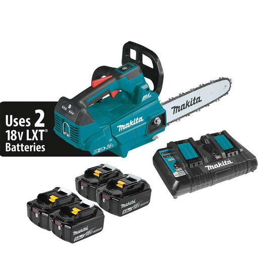 "Makita 18V X2 (36V) LXT® Lithium-Ion Cordless 14"" Top Handle Chain Saw Kit (5.0Ah), Plus Batteries"
