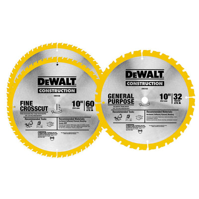 DeWalt 10 In. 60T and 10 In. 32T Saw Blade