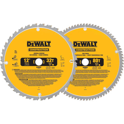 DeWalt 12-in 80T and 12-in 32T Saw Blade