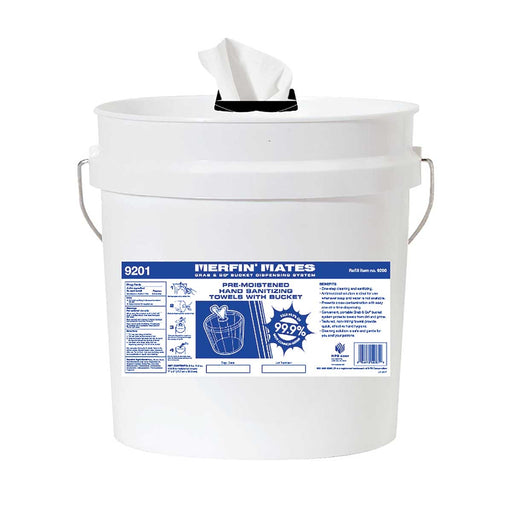 Grab & Go® Bucket with Merfin® Pre-Moistened Hand Sanitizing Towels
