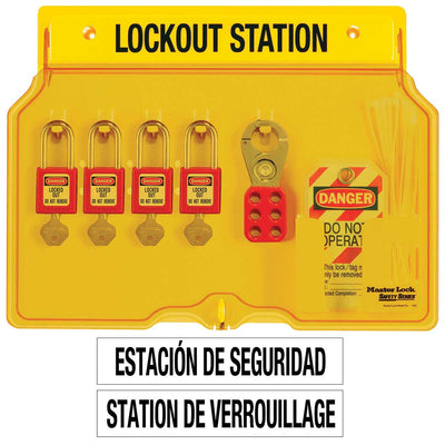 Master Lock 4-Lock Covered Lockout Station w/ Red Padlocks