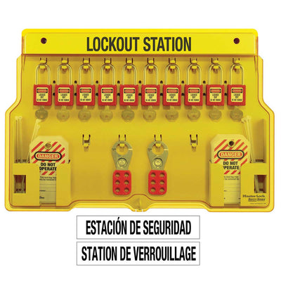 Master Lock 10-Lock Covered Lockout Station w/ Red Padlocks