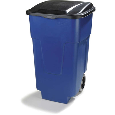 50-Gallon Bronco Square Roll-Away Waste Container w/ Hinged Lid, Pack of 2