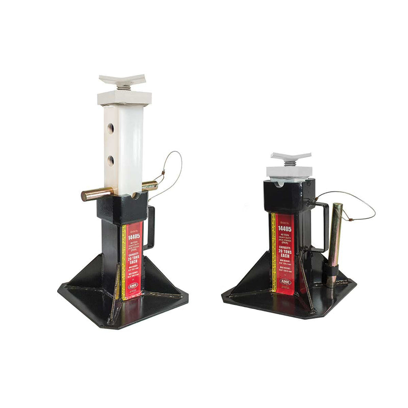 AME 40 U.S. Ton Heavy Duty Jack Stand Pair w/ Adjustable Top