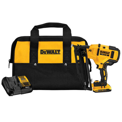 DEWALT 20 V MAX* 16 Gauge Angled Cordless Finish Nailer Kit