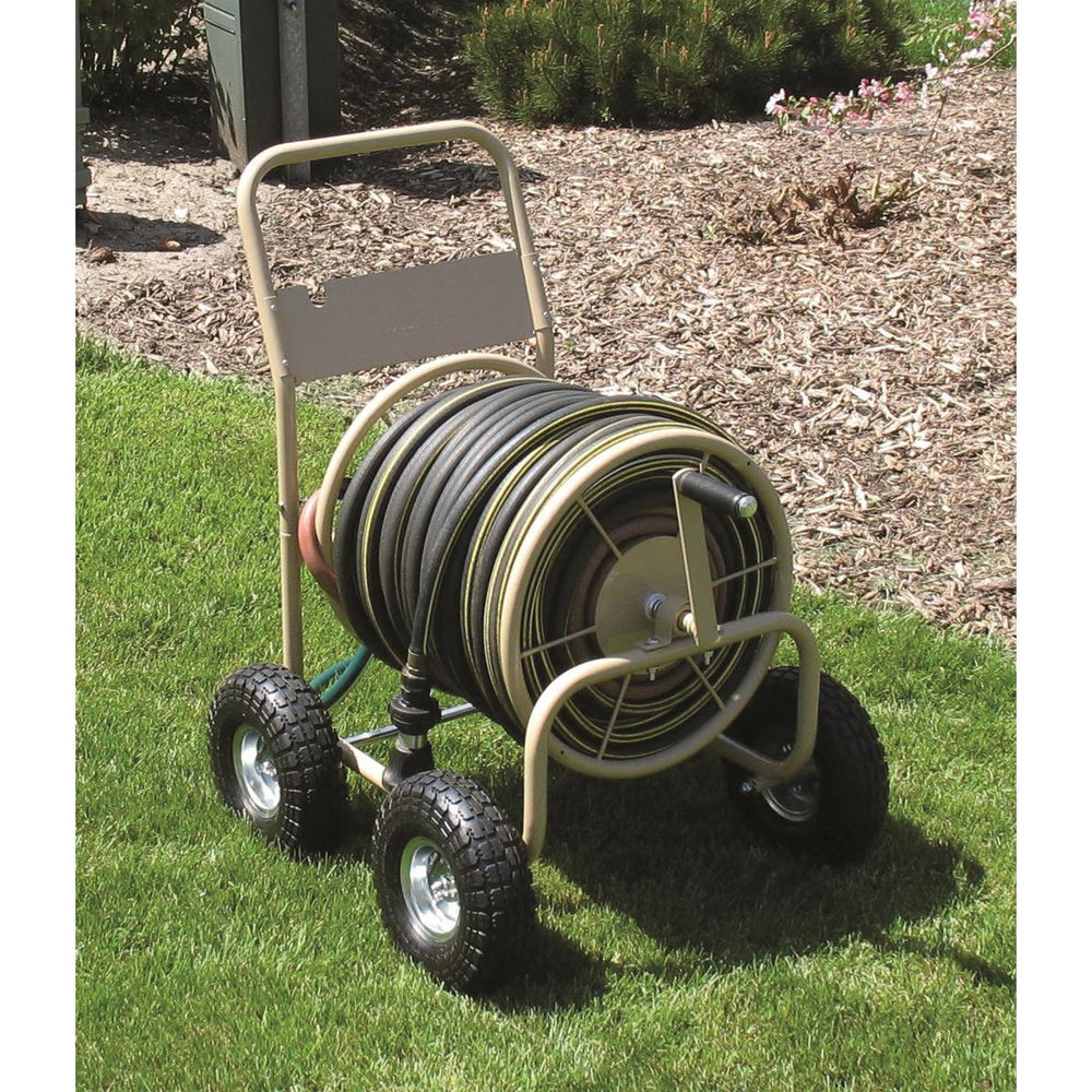 Commercial-Duty Steel Garden Hose Reel Wagon