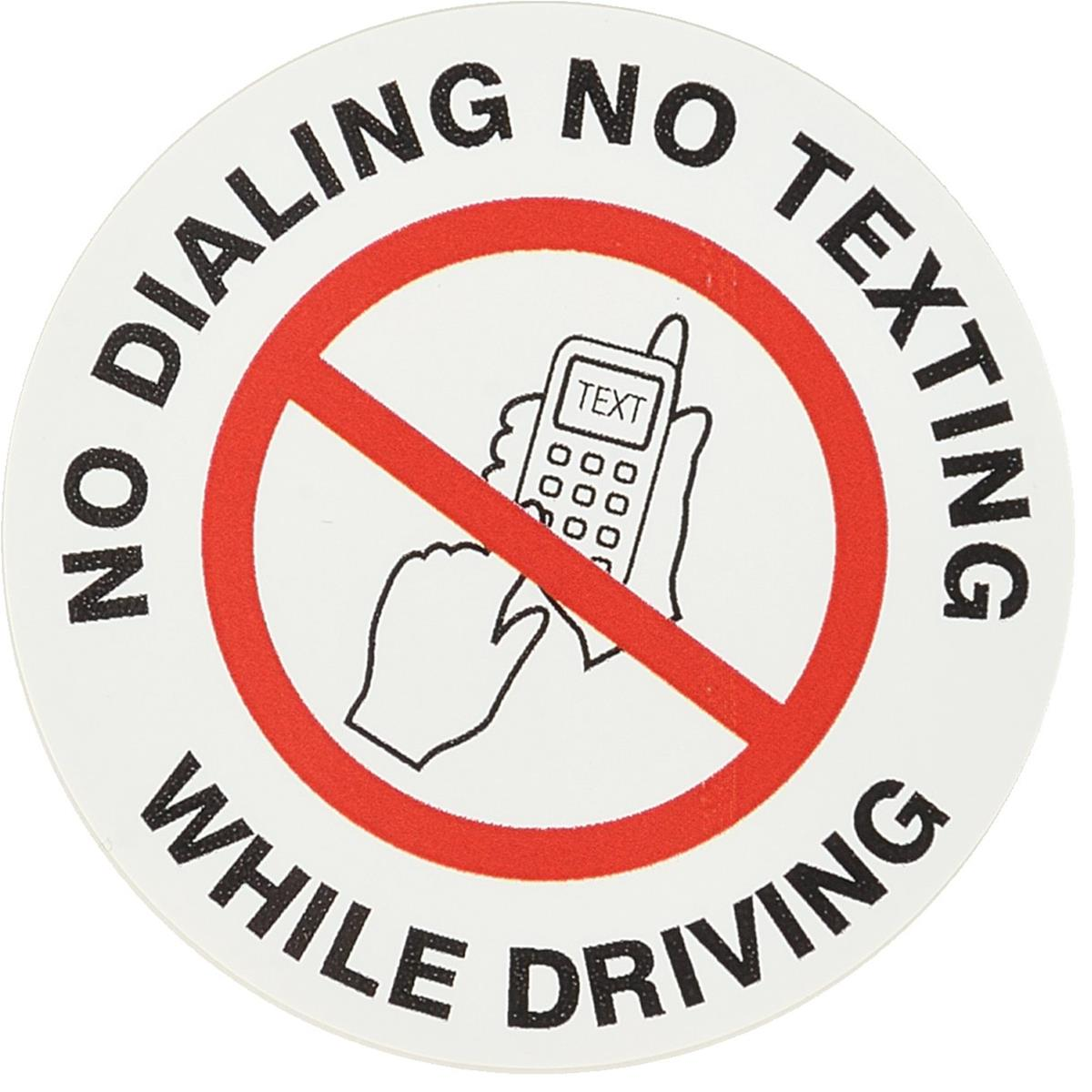 No Dialing or Texting Label