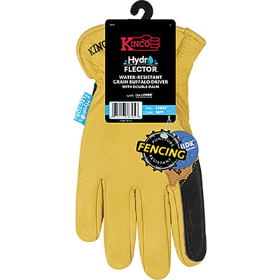 Kinco Hydroflector Water-Resistant Grain Buffalo Double Palm Driver Glove