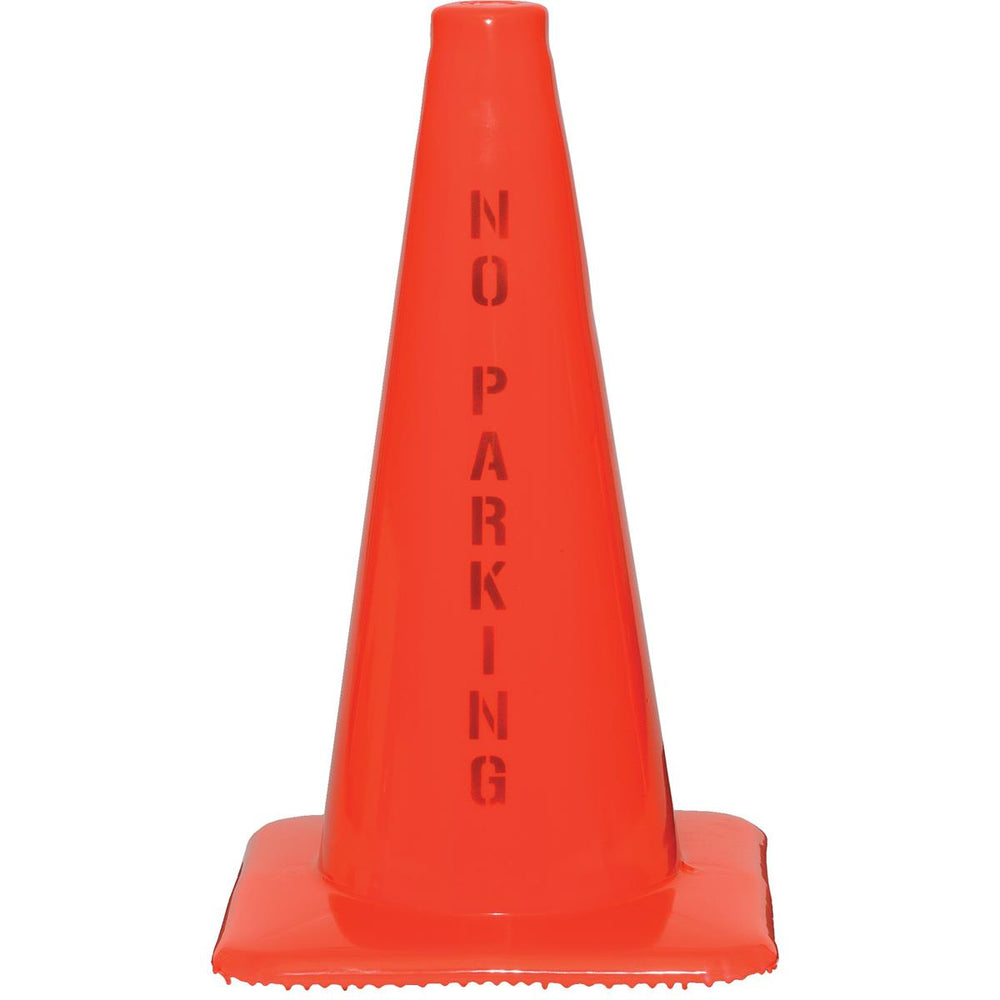 "Orange PVC Cone with ""No Parking"" Message"