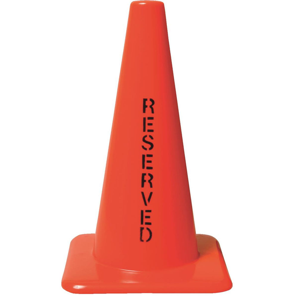 "Orange PVC Cone with ""Reserved"" Message"