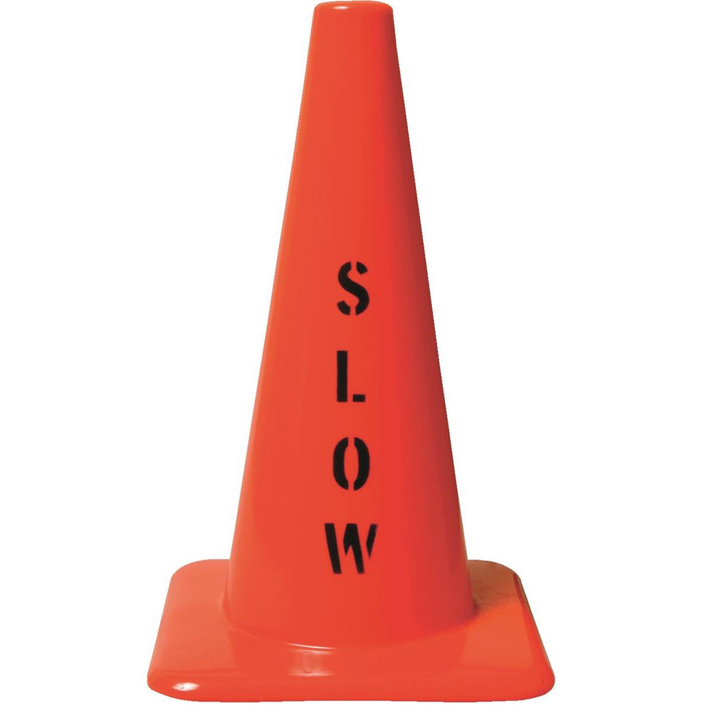 "Orange PVC Cone with ""Slow"" Message"
