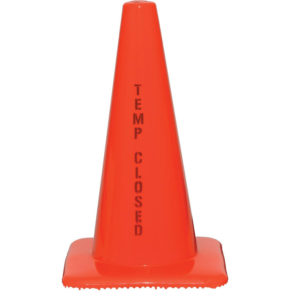 "Orange PVC Cone with ""Temporarily Closed"" Message"