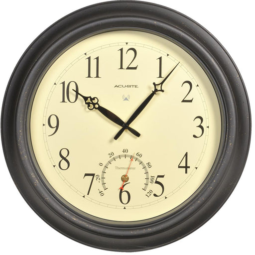 "18""-dia. Jumbo Black Indoor/Outdoor Wall Clock with Thermometer"
