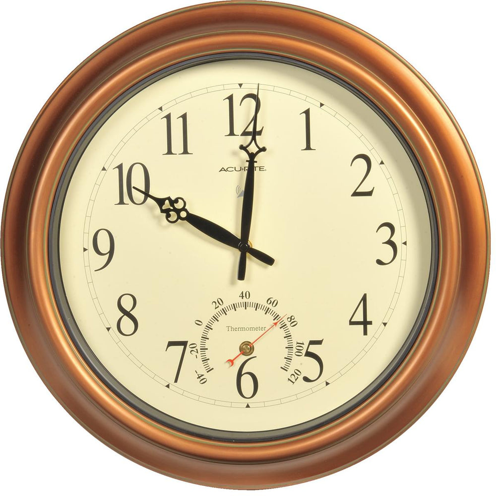 "18""-dia. Jumbo Copper-Colored Indoor/Outdoor Clock w/ Thermometer"