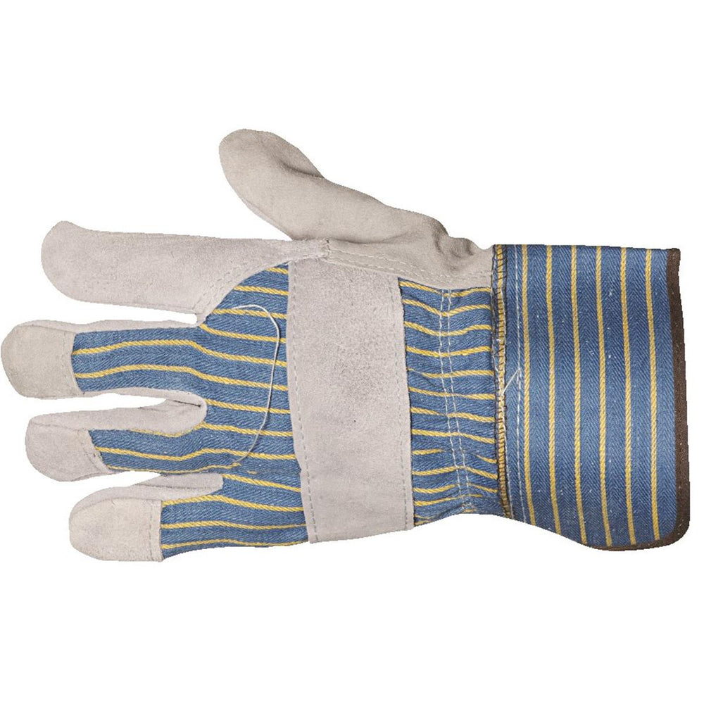 "Leather-Palm Safety Gloves with 2"" Cuffs"