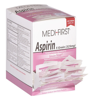 Medi-First® Aspirin, 125 Packets of 2 Tablets