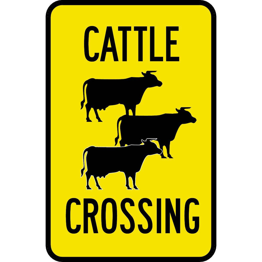 """Cattle Crossing"" Reflective Traffic Control Sign"