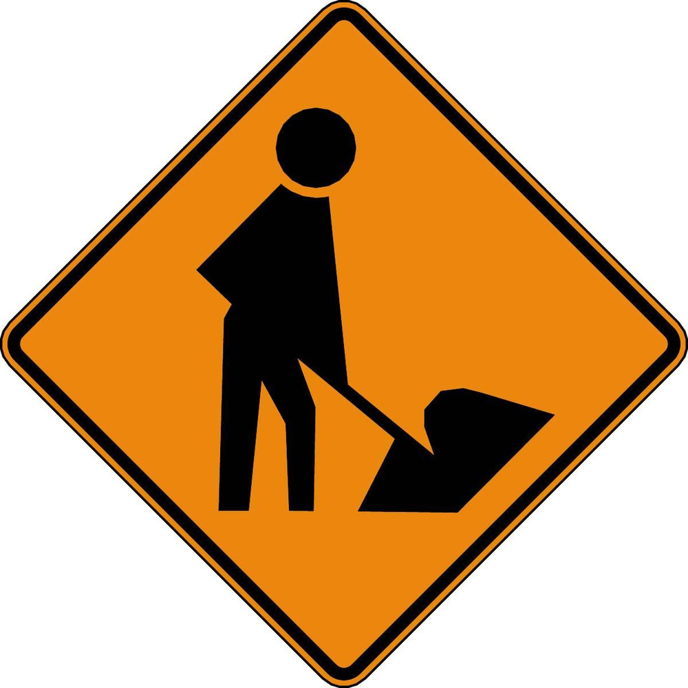 Workers Ahead Symbol Traffic Alert Sign