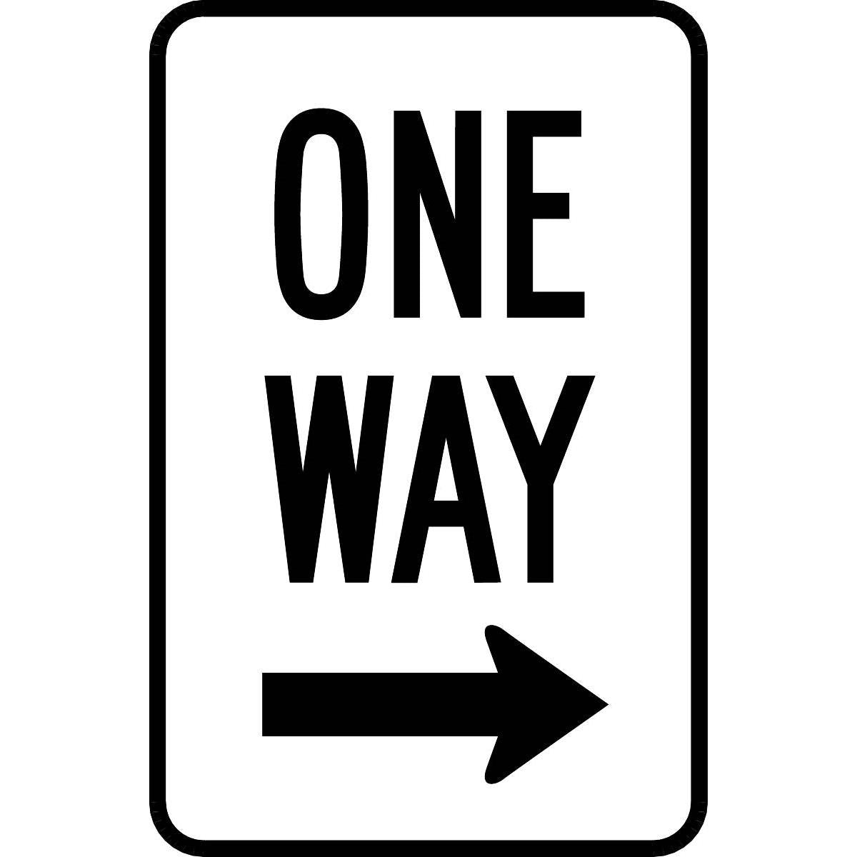 """One Way"" w/ Right-facing Arrow Aluminum Traffic Control Sign"