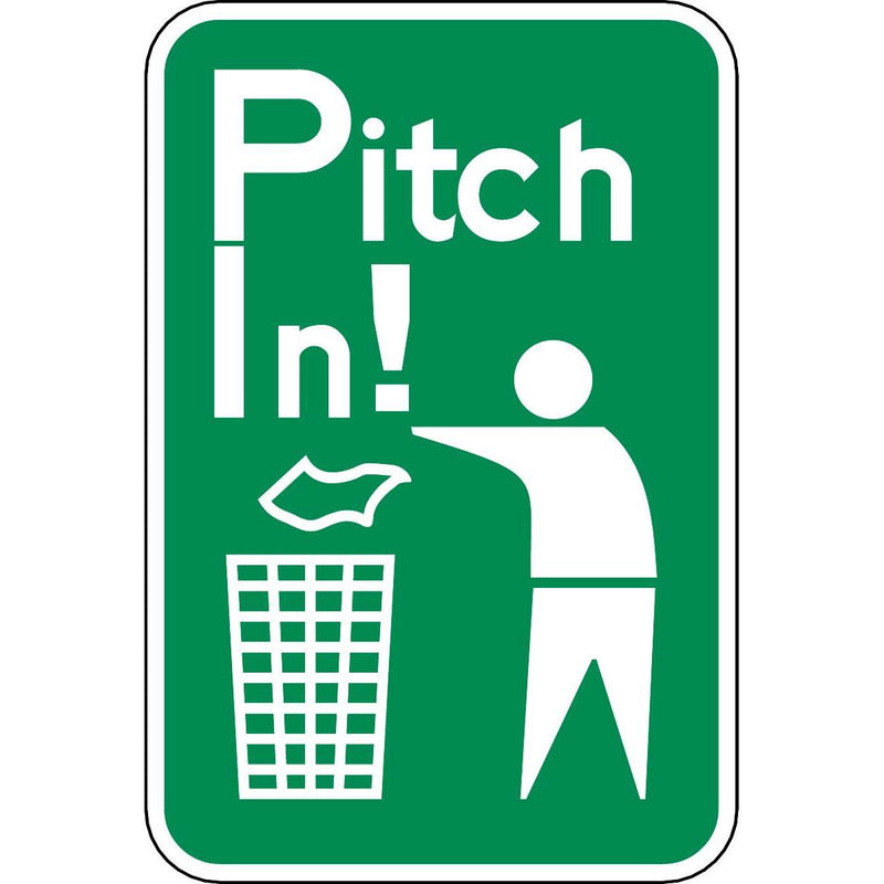 """Pitch In"" Litter Control Sign"