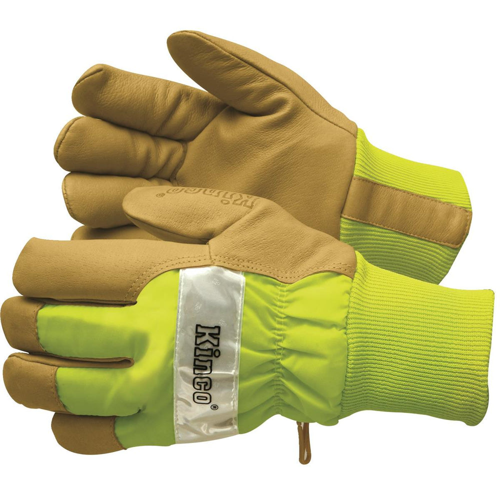 High-Visibility Insulated Pigskin Gloves, Lime