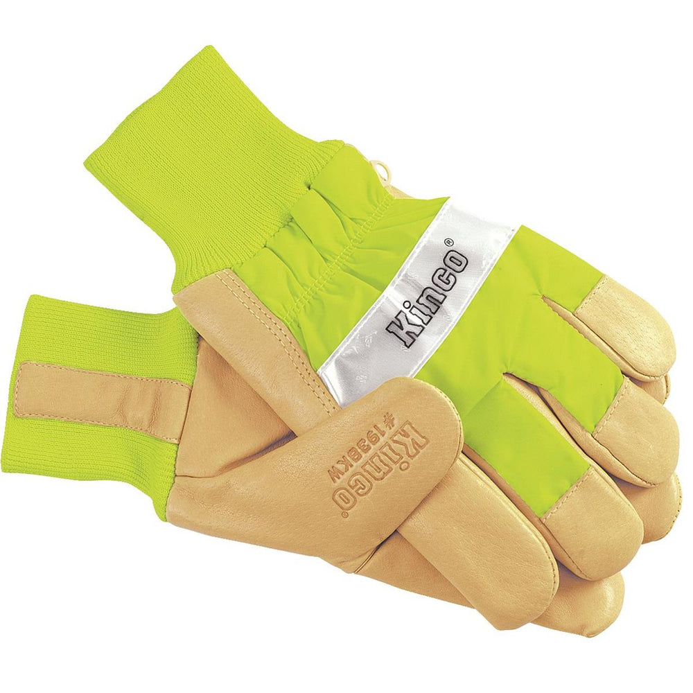 High-Visibility Insulated, Waterproof Pigskin Gloves, Lime Green