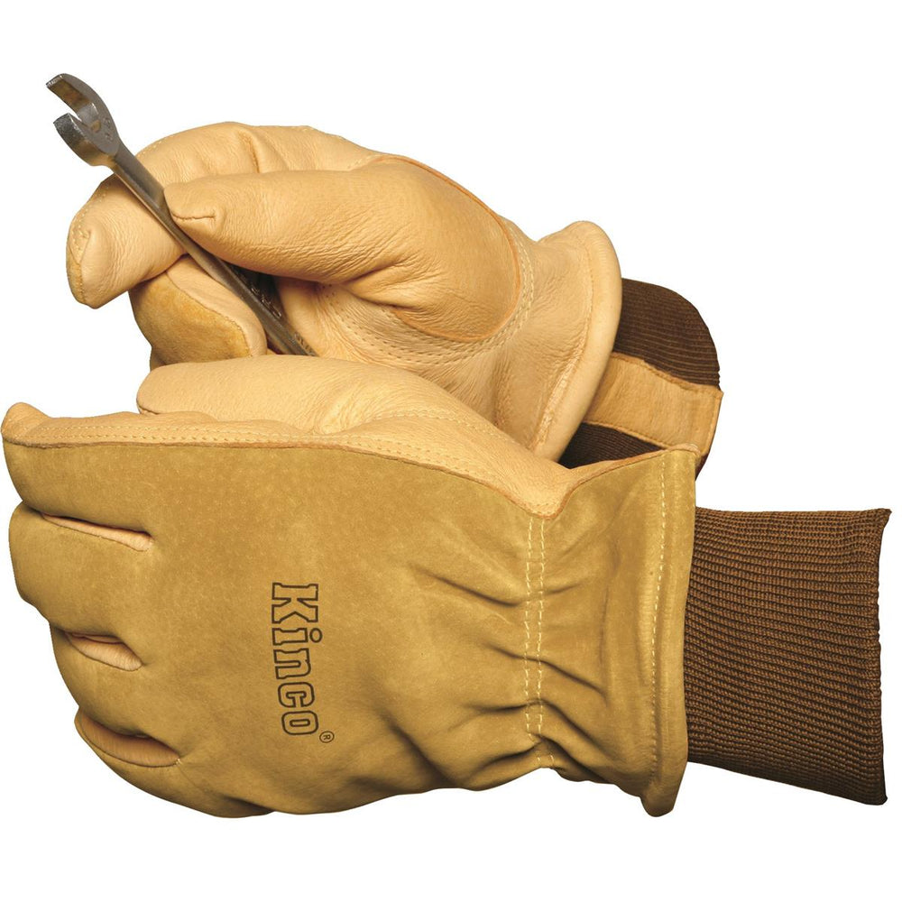 Insulated, Heavy-Duty Pigskin Gloves with Knit Wrist