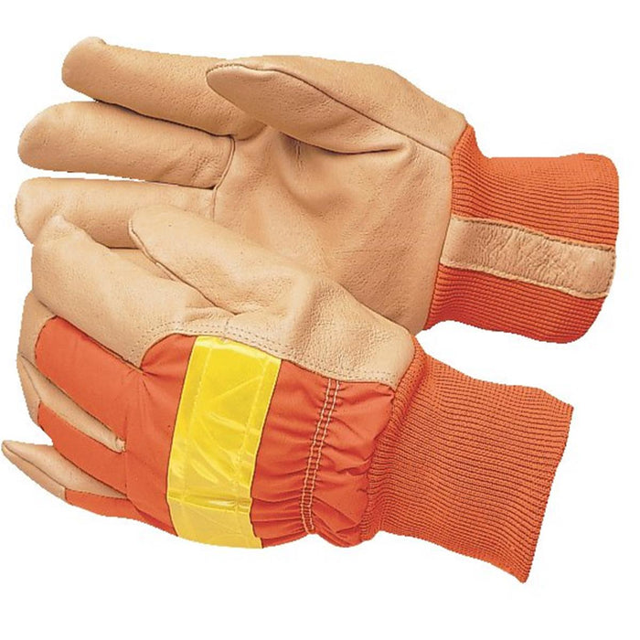 Kinco Hi-Vis Insulated Pigskin Gloves, Orange with Knit Wrist