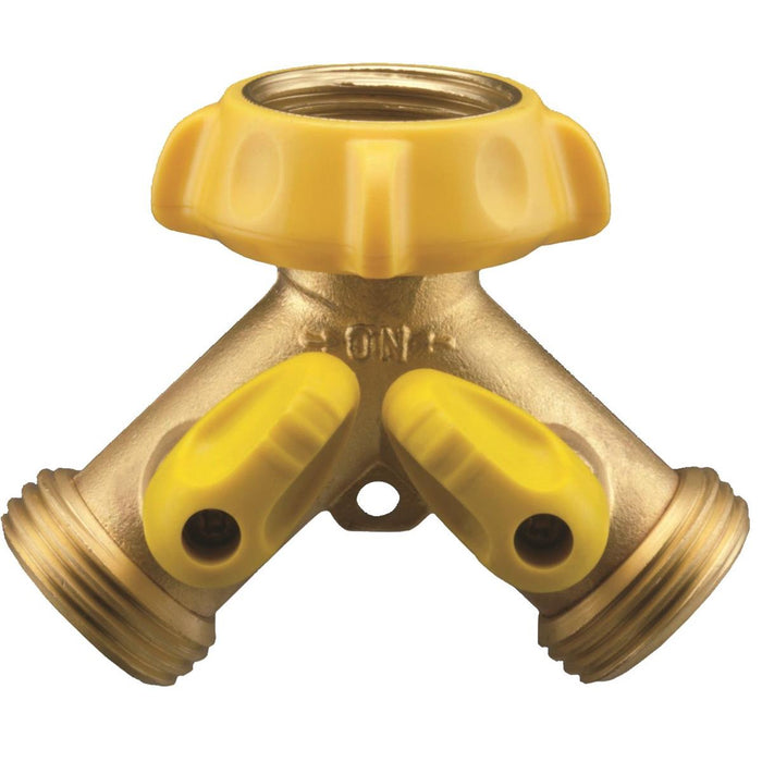 "Solid Brass Hose ""Y"" Adaptor w/ Shutoffs"