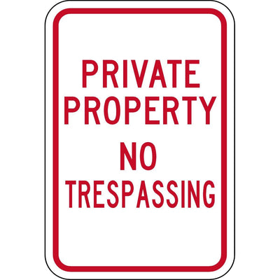 """Private Property - No Trespassing"" Property Control Sign"