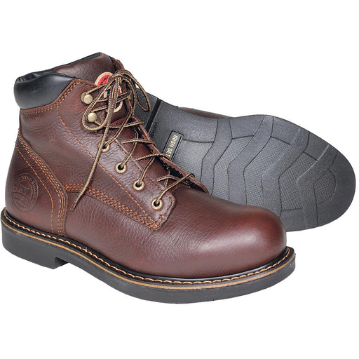 "6"" Plain Toe Dark Brown Work Boots"