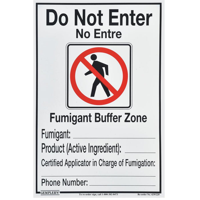 GEMPLER'S Fumigant Buffer Zone Sign