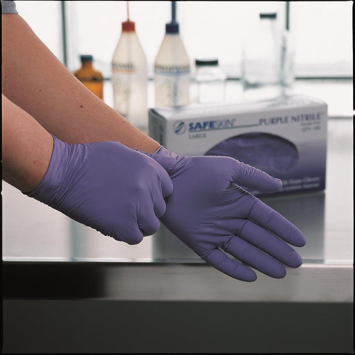 "6-mil Purple Nitrile Exam Gloves, 9-1/2""L"