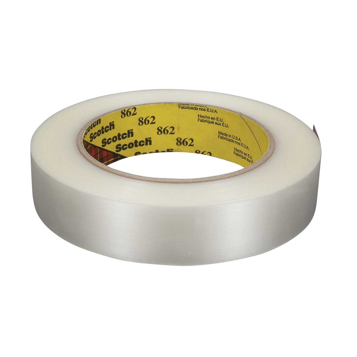 Scotch® Reinforced Strapping Tape 862, Clear, 24 mm x 55 m, 4.6 mil, Case of 36