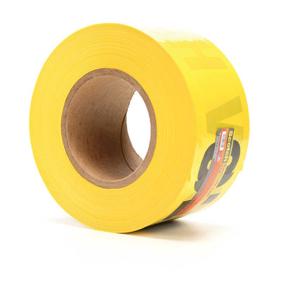 Scotch® Barricade Tape 358, CAUTION HIGH VOLTAGE, 3 in x 1000 ft,  Yellow, Case of 8