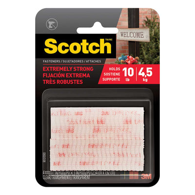 Scotch™ Extreme Fasteners, 1 in x 3 in (25,4 mm x 76,2 mm), Clear 2 Sets of Strips, Case of 24