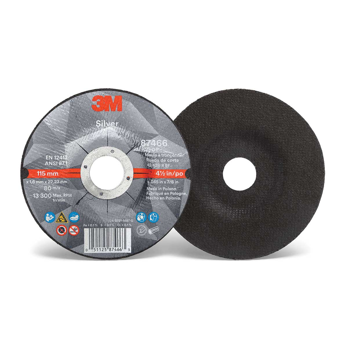3M™ Silver Cut-Off Wheel, 87466, T27, 4.5 in x .045 in x 7/8 in, Case of 50