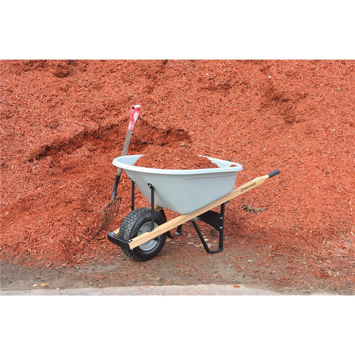 BRENTWOOD INDUSTRIES Poly Tray Wheelbarrow, Pnuematic Wheel, 6 cu ft