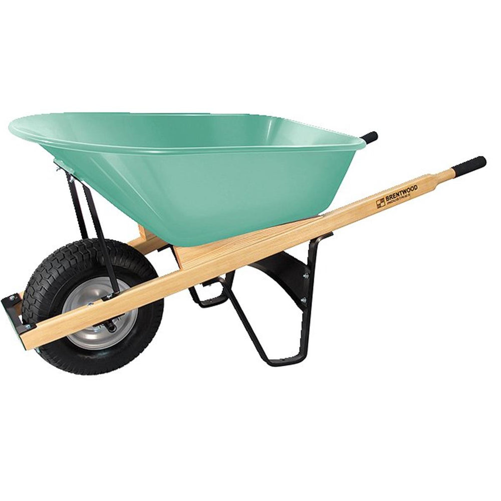 BRENTWOOD INDUSTRIES Steel Tray Wheelbarrow, No Flat Wheel, 6 cu ft