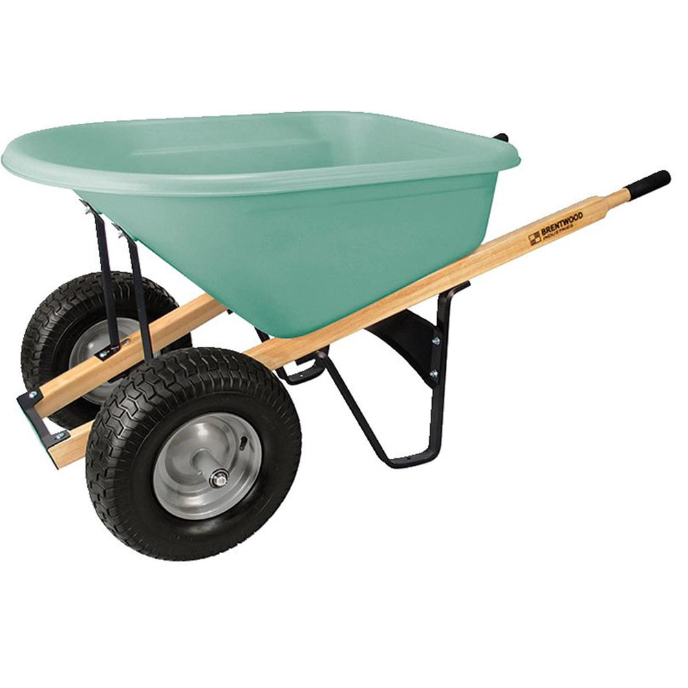 BRENTWOOD INDUSTRIES Dual Tire, Poly Tray Wheelbarrow, Pnuematic Wheel, 6 cu ft