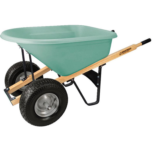 BRENTWOOD INDUSTRIES Dual Tire, Poly Tray Wheelbarrow, No Flat Wheel, 6 cu ft
